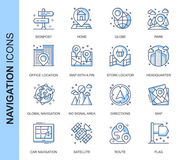 Conjunto de iconos relacionados con navegación de línea delgada