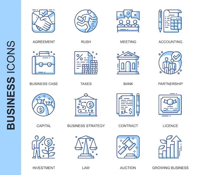 Conjunto de iconos relacionados con negocios de línea delgada