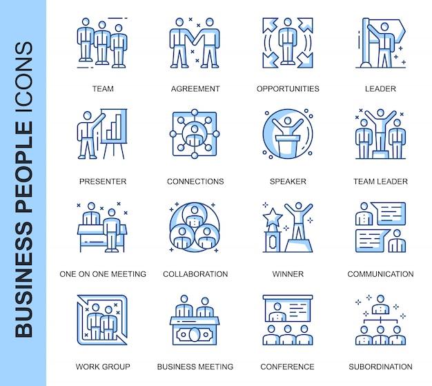 Conjunto de iconos relacionados con personas de negocios de línea delgada