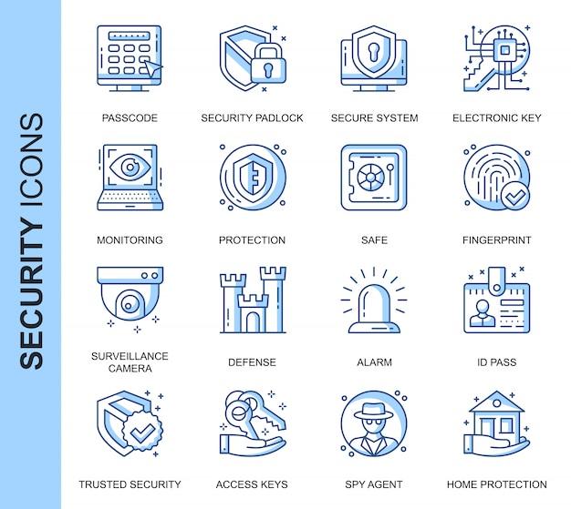 Conjunto de iconos relacionados con seguridad de línea delgada