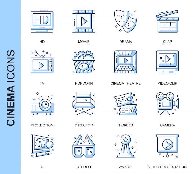 Conjunto de iconos relacionados con thin line cinema