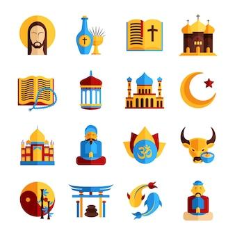 Conjunto de iconos de religión