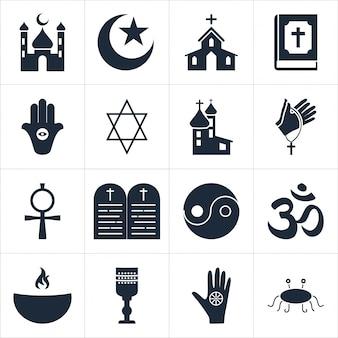 Conjunto de iconos religiosos