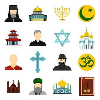 Conjunto de iconos religiosos.