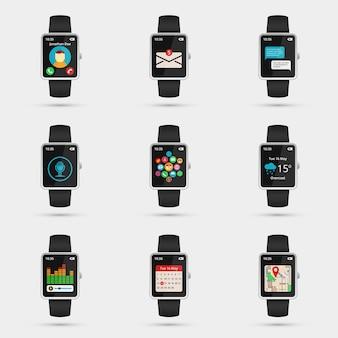 Conjunto de iconos de reloj inteligente. wifi, mapa y clima, calendario y música, navegación y mensaje