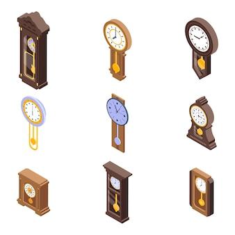Conjunto de iconos de reloj de péndulo