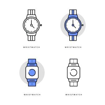 Conjunto de iconos de reloj de pulsera