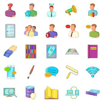Conjunto de iconos de remesas, estilo de dibujos animados