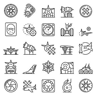 Conjunto de iconos de reparación de aeronaves, estilo de contorno