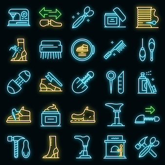 Conjunto de iconos de reparación de calzado. esquema conjunto de iconos de vector de reparación de calzado color neón en negro