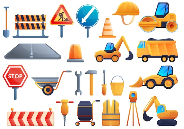 Conjunto de iconos de reparación de carreteras, estilo de dibujos animados
