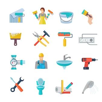 Conjunto de iconos de reparación de casa plana