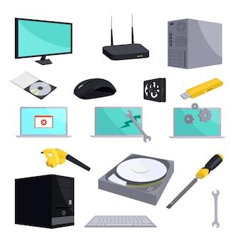 Conjunto de iconos de reparación de computadora, estilo de dibujos animados