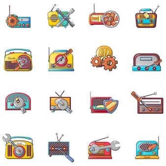 Conjunto de iconos de reparación de radio, estilo de dibujos animados