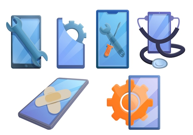 Conjunto de iconos de reparación de teléfonos móviles, estilo de dibujos animados