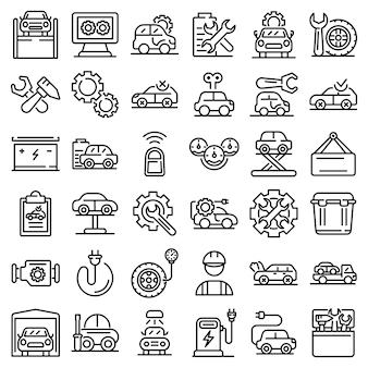 Conjunto de iconos de reparación de vehículos eléctricos, estilo de contorno