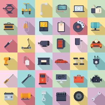 Conjunto de iconos de reparación de vehículos eléctricos, estilo plano