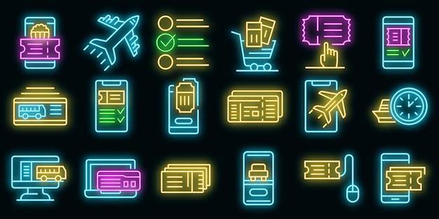 Conjunto de iconos de reserva de entradas en línea. esquema conjunto de boletos en línea reservando iconos vectoriales de color neón en negro