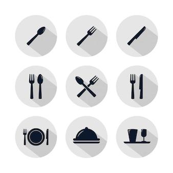 Conjunto de iconos de restaurante aislado en círculo gris.