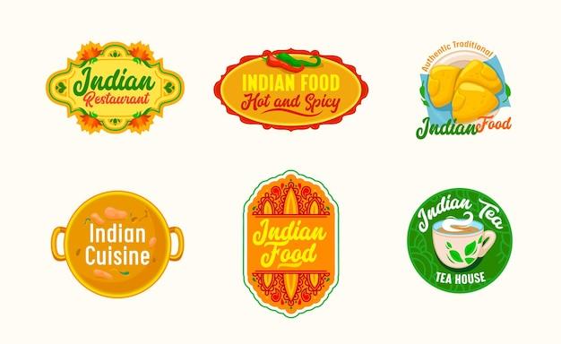 Conjunto de iconos para restaurante de comida india, emblemas de dibujos animados con símbolos tradicionales de chiles de la india, flor de loto, taza humeante con té y sopa en sartén, etiquetas aisladas, ilustración vectorial