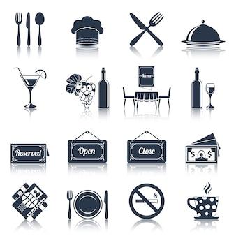 Conjunto de iconos de restaurante negro