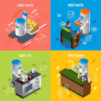Conjunto de iconos de restaurante robótico isométrico