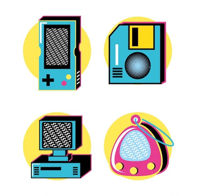 Conjunto de iconos retro de los años noventa