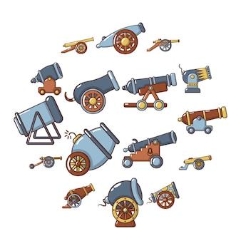 Conjunto de iconos retro de cañón, estilo de dibujos animados