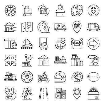 Conjunto de iconos de reubicación, estilo de contorno