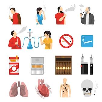 Conjunto de iconos de riesgos de productos de fumar