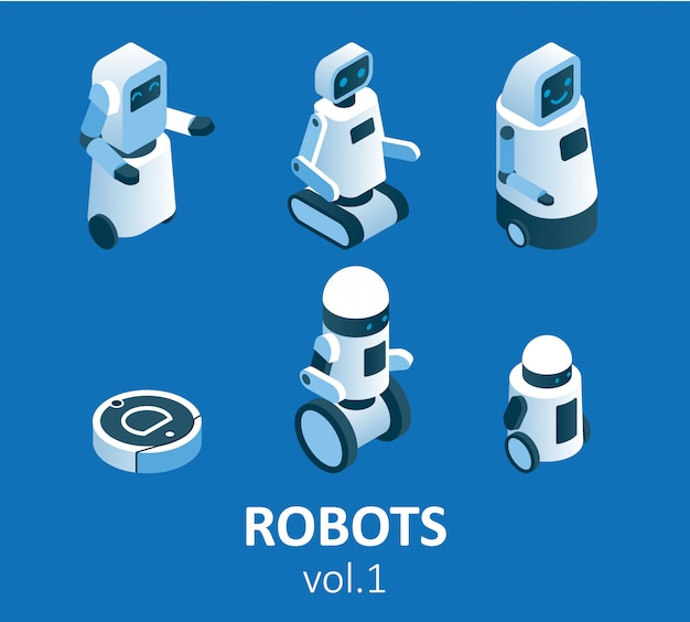 Conjunto de iconos de robótica moderna isométrica