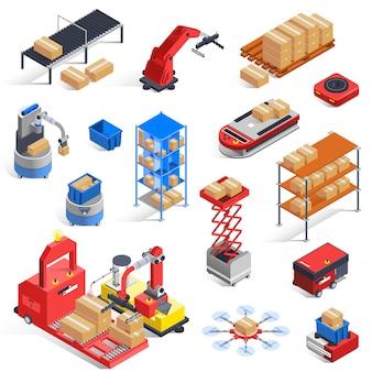 Conjunto de iconos de robots de almacén