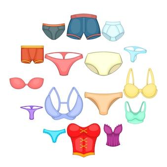 Conjunto de iconos de ropa interior, estilo de dibujos animados