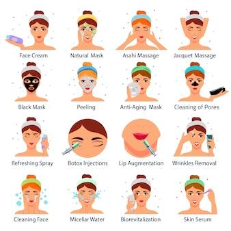 Conjunto de iconos con rostros femeninos durante procedimientos cosméticos