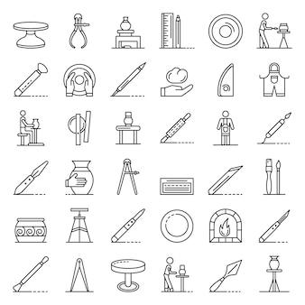 Conjunto de iconos de la rueda de alfareros, estilo de contorno