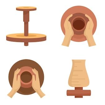 Conjunto de iconos de rueda de alfareros