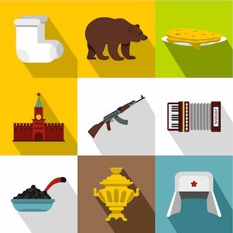 Conjunto de iconos de rusia, estilo plano