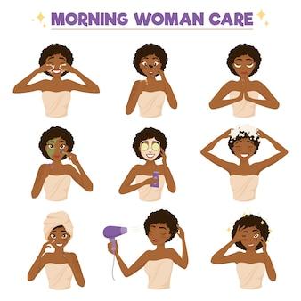 Conjunto de iconos de rutina mañana mujer afroamericana