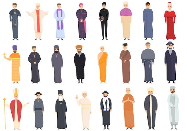 Conjunto de iconos de sacerdote. conjunto de dibujos animados de iconos de sacerdote
