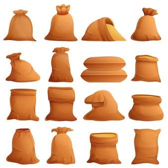 Conjunto de iconos de saco, estilo de dibujos animados