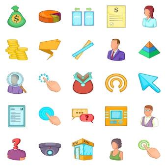 Conjunto de iconos de salario, estilo de dibujos animados