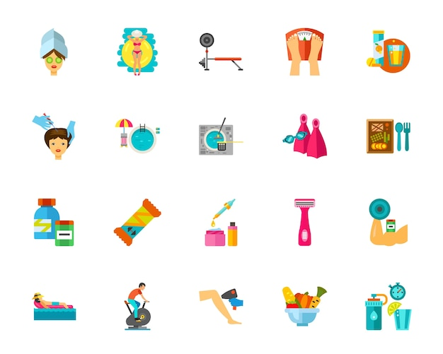 Conjunto de iconos de salud y belleza