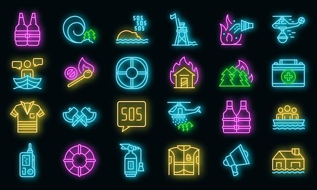 Conjunto de iconos de salvador. esquema conjunto de iconos de vector de rescatador color neón en negro
