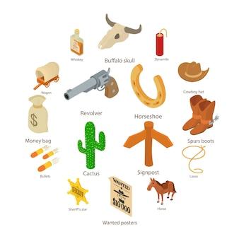 Conjunto de iconos del salvaje oeste, estilo isométrico