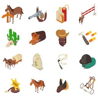 Conjunto de iconos del salvaje oeste