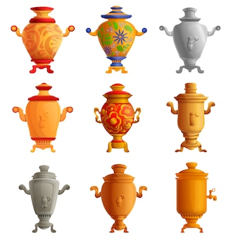 Conjunto de iconos de samovar