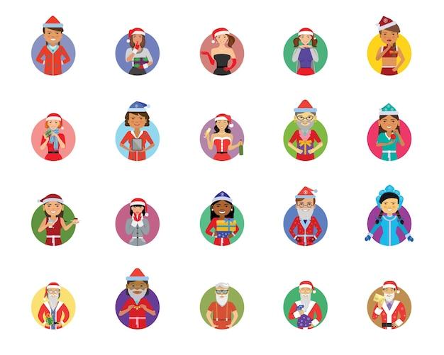 Conjunto de iconos de santa
