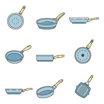 Conjunto de iconos de sartén de plancha, estilo de contorno