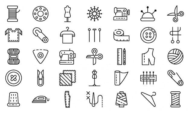 Conjunto de iconos de sastre, estilo de contorno