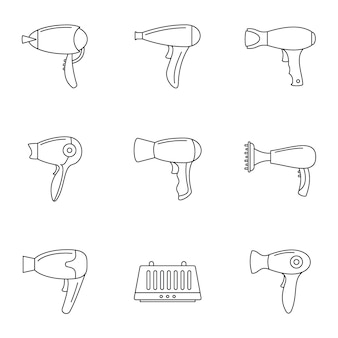 Conjunto de iconos de secador de pelo